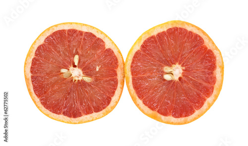 Red Grapefruit Halves Side By Side