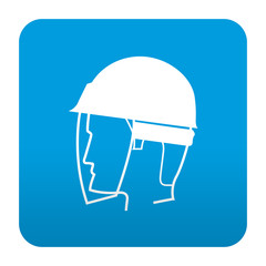 Etiqueta tipo app azul simbolo proteccion para ojos