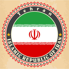Vintage label cards of Iran flag.
