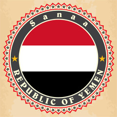Vintage label cards of  Yemen flag.
