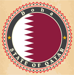 Vintage label cards of  Qatar flag