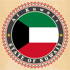 Vintage label cards of  Kuwait flag.