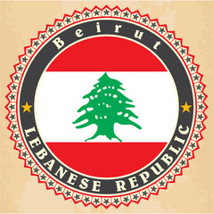 Vintage label cards of  Lebanon flag.