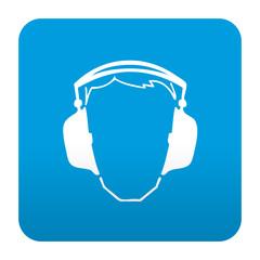 Etiqueta tipo app azul simbolo proteccion para oidos