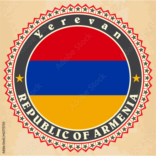 Vintage label cards of  Armenia flag.