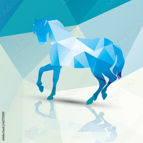 Geometric polygonal horse, pattern design, vector