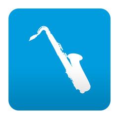 Etiqueta tipo app azul simbolo saxofon