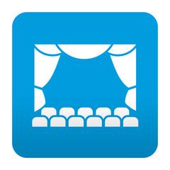 Etiqueta tipo app azul simbolo teatro