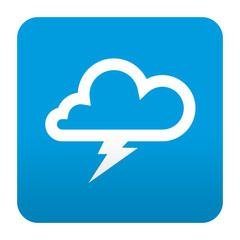 Etiqueta tipo app azul simbolo tormenta