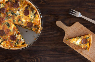 quiche with sausage and spinach
