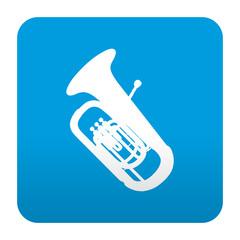Etiqueta tipo app azul simbolo tuba