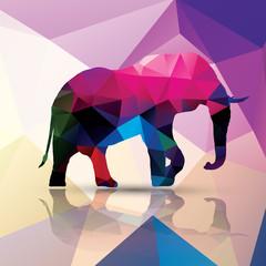Geometric polygonal elephant, pattern design, vector
