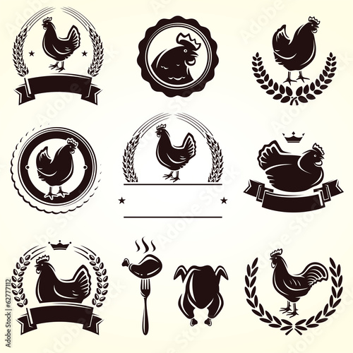 Chicken labels set. Vector