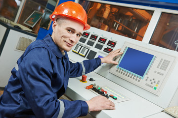 industrial engineer worker at control panel