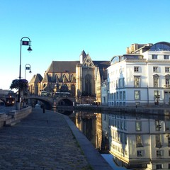 Reflection of Ghent, city in Belgium.