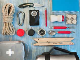 travel kit modern traveler scout on blue backpacking