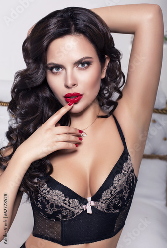sexy beautiful woman with black hair in lingerie