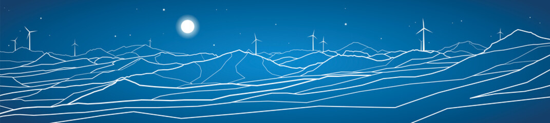 Vector ecology panorama, mountains landscape, windmills