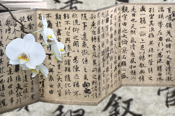 Orchid and calligraphy © tiantan