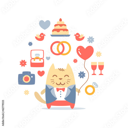 Character groom in a wedding suit colorful flat composition of p
