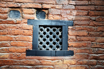 Air passage on brick wall nepal Style at Thamel Kathmandu Nepal
