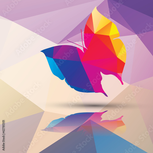 Geometric polygonal butterfly, pattern design, vector