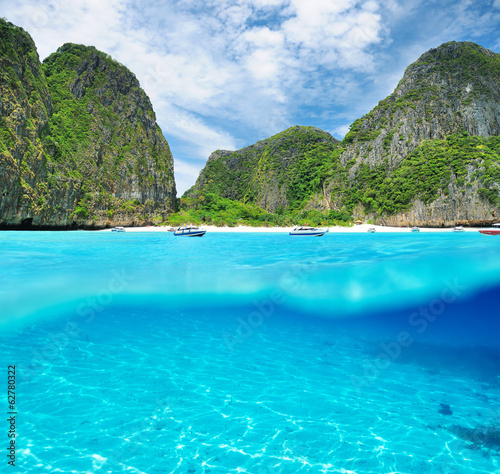 Beautiful lagoon with white sand bottom underwater view