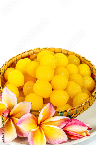 Gold egg yolks drops