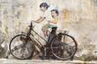 "Leinwandbild Motiv ""Little Children on a Bicycle"" Mural."