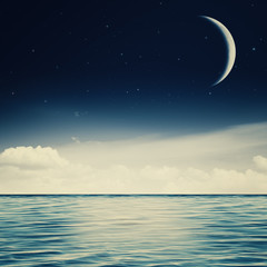 Starry night on the ocean, abstract environmental backgrounds