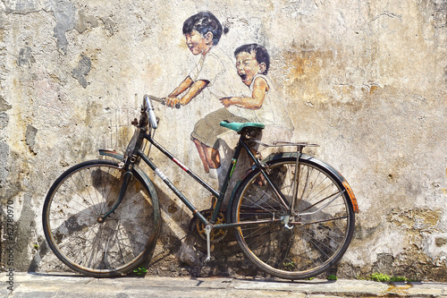 "canvas print picture ""Little Children on a Bicycle"" Mural."