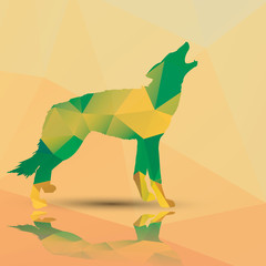 Geometric polygonal wolf, pattern design, vector