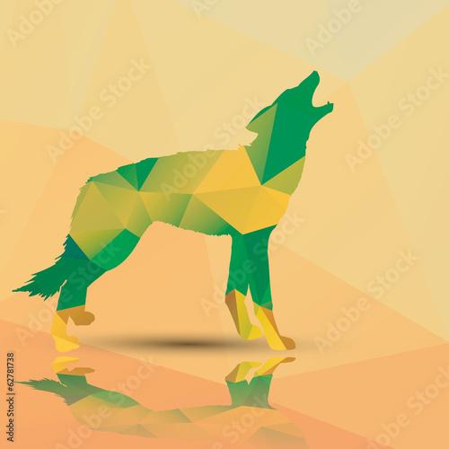Geometric polygonal wolf, pattern design, vector