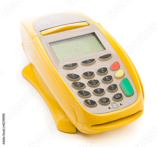 Yellow credit card POS terminal isolated on white
