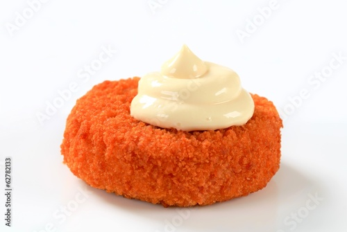 Fried cheese with mayonnaise