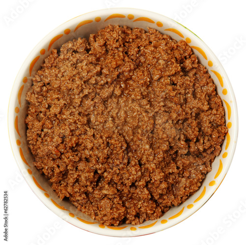 Bowl of Cooked Ground Beef Over White