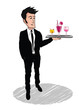 Waiter costume barman holding drinks tray cocktail illustration