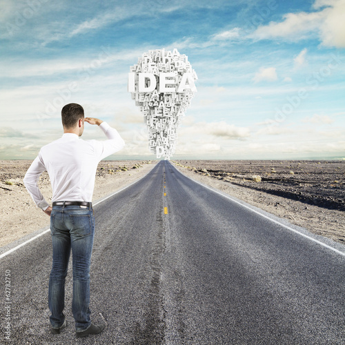 man looking to idea