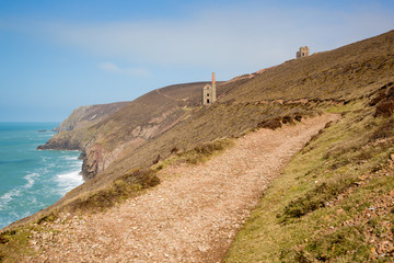 Coast path and Cornish tin mine St Agnes Beacon Cornwall