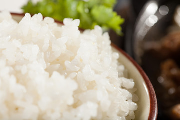 steam rice, white steamed rice in a bowl, Thailand