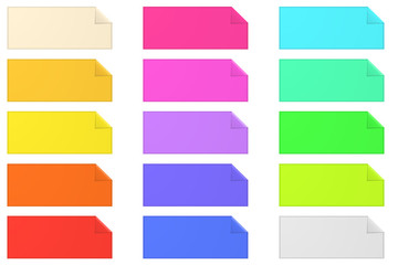 Colorful banner paper notes on white