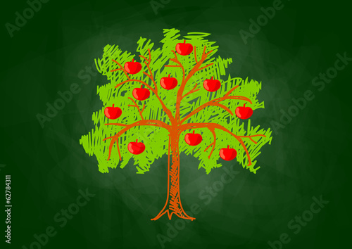 Apple tree drawing on blackboard