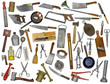 vintage kitchen utensils collage over white