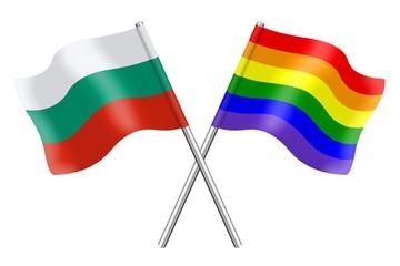 Flags : Bulgaria and rainbow