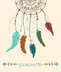 Color American Indians dreamcatcher with bird feathers and geome