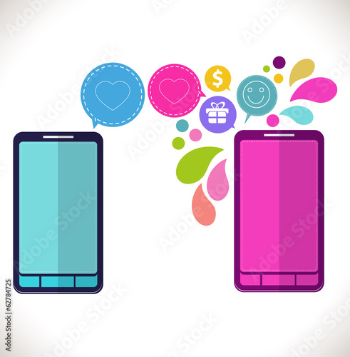 Mobile phone with icons, Colorful Concept of communication, love