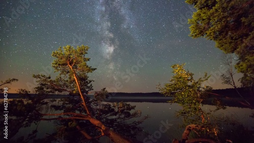 Bright Milky Way over the lake