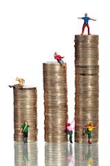 Euro Münzen mit Miniatur-Kletterer