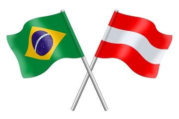 Fahnen: Brasilien und Österreich