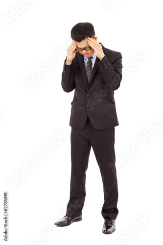 businessman have a headache with painful expression
